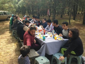 Some of the young people having breakfast