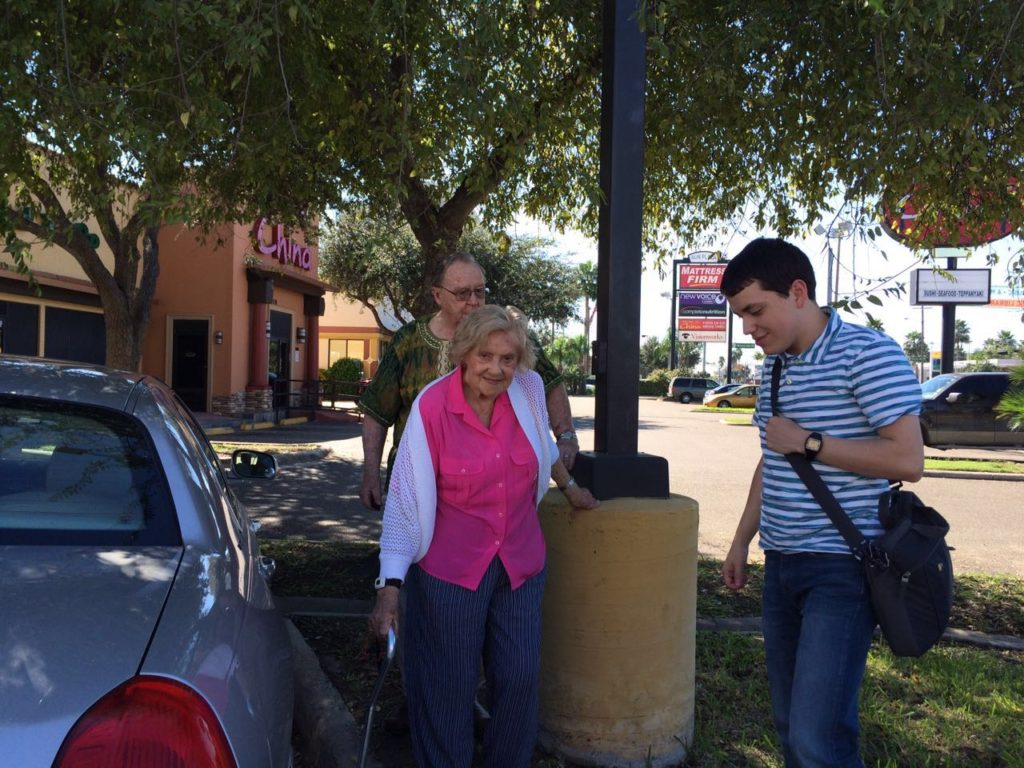 David Jeremiah with Bill and Gerda Brown outside a restaurant in Texas